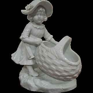 Porcelain Figure of Girl with Basket