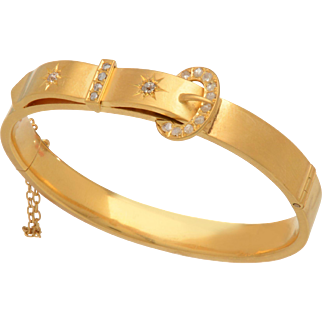 English Victorian 15 KT. Rosy Yellow Gold Bracelet with Buckle Detail and Rose Cut Diamonds