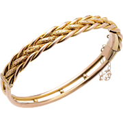 Antique English 9 KT. Yellow Gold Engraved Braided Bangle Bracelet