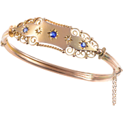 9 KT. Yellow Gold, English  Edwardian Bangle Bracelet with Gypsy Style