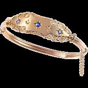 9 KT. Yellow Gold, English  Edwardian Bangle Bracelet with Gypsy Style