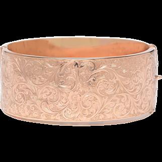 Extra Large Engraved Antique 9 KT. Rose Gold Bangle Bracelet