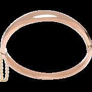 Antique 9 KT. Rose Gold Polished Domed Top Bangle Bracelet