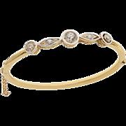 Edwardian 18 KT. Yellow Gold and Diamond Bangle Bracelet