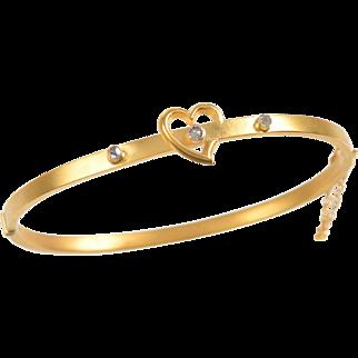Antique 9 KT. Matte Gold English Heart Bangle Bracelet with Rose cut Diamonds