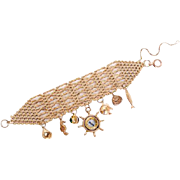 Extra Wide 9 KT. Yellow Gold Gate Bracelet with 7 Nautical Inspired Charms