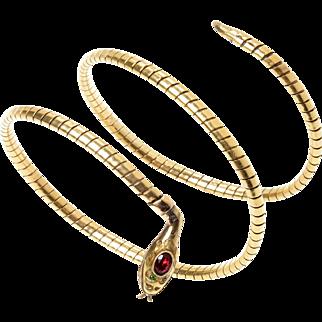 Antique 14 KT. Yellow Gold Serpent Arm Cuff Bracelet with Garnet detail