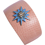Pink Lizard Skin Cuff with a Victorian 15 KT. Yellow Gold and Enamel set with Rose Cut Diamonds Star