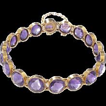 14 KT. Yellow Gold & Amethyst Collet Bracelet