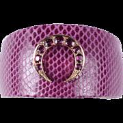Modern Lizard Cuff Bracelet Set with an Old Ruby Set  Crescent Motif Top