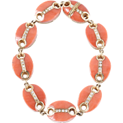 18 KT. Yellow Gold, Coral and Diamond Bracelet