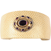 Golden Yellow Lizard Skin Cuff with a Cabochon Amethyst Top