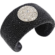 Black Shagreen Cuff with 14 KT. White Gold Pave set Old Mine Diamond Button
