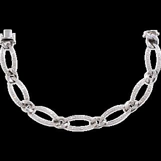 Diamond Oval Link Bracelet set in 18 KT. White Gold