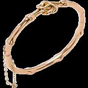 Antique English 15 KT. Rose Gold Bamboo Motif Bangle Bracelet