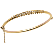 Victorian Yellow Gold and Seed Pearl Bangle Bracelet