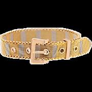 14 KT. Yellow and White Gold Mesh Stripes Bracelet