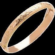 Antique English 9 KT. Rose Gold Engraved Floral Detail Top Bracelet
