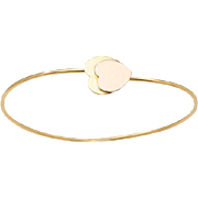 18 KT. Rose and Yellow Gold Double Hearts Wire Bangle