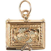 14 KT. Yellow Gold Engraved Antique Book Charm / Pendant