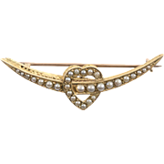 Victorian Crescent and Heart 15 KT. Gold and Split Pearl Brooch