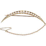 Victorian Crescent Brooch with Seed Pearls set in 15 KT. Yellow Gold