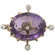 Antique Amethyst and Old Euro Diamond Star Brooch