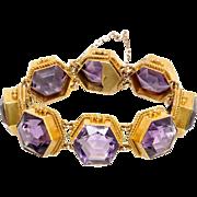 Amethyst and 14 KT. Gold Hexagonal Bracelet