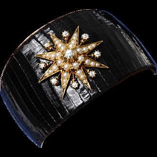 Genuine Lizard Cuff Bracelet with a Victorian Diamond and Split Pearl Star