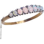 15 KT. Yellow Gold Antique Opal Half Hoop Bangle with Rose cut Diamond Detail