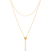 Long Slide Chain with a Diamond Center Heart Slide 14 KT. Yellow Gold