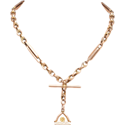 9 KT. Rose Gold Antique Chain and Fob Necklace