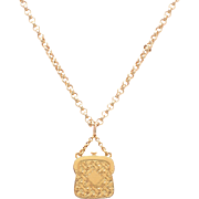 Edwardian English 9 KT. Yellow Gold Handbag Charm / Pendant