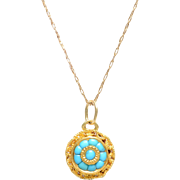 14 KT. Yellow Gold & Cabochon Turquoise Circle Necklace