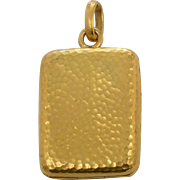 Handmade 22 KT. Hammered Yellow Gold Locket in a Rectangle Shape