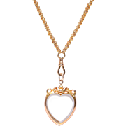 Antique Double sided Heart Locket with Bow Motif Top Necklace