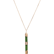 14 KT. Gold and Jade Bar Pendant