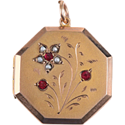 9 KT. Rose Gold English Engraved Octagonal Locket with Pearls and Garnets