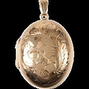 Vintage Engraved Locket 9 KT Gold