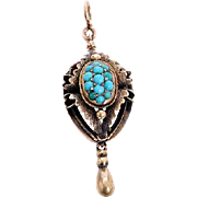 Cabochon Turquoise and 15 KT. Gold Shield Pendant