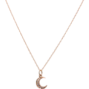 14 KT. Rosy Yellow Gold Crescent with 7 Rose Cut Diamonds Pendant