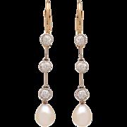 Edwardian Pearl and Diamond Drop Earrings