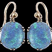 Black Opal Disc Earrings set in 15 KT. Yellow Gold