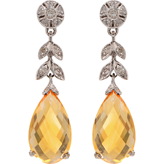 18 KT. White Gold, Yellow Sapphire and Diamond Drop Earrings
