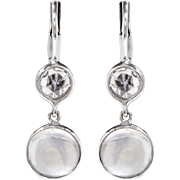 Cabochon Moonstone and Diamond Drop Earrings set in 14 KT. White Gold
