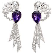 14 KT. White Gold, Amethyst and Diamond Shooting Comet Earrings