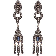 Antique Style Silver over 14 KT. Gold Sapphire and Diamond Drop Earrings