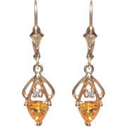 14 KT. Yellow Gold, Yellow Sapphire and Diamond Earrings