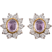 Cabochon Amethyst and Diamond Cluster Earrings set in 14 KT. White Gold