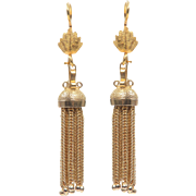 14 KT. Yellow Gold Tassel Drop Ball Tipped Fringe Earrings